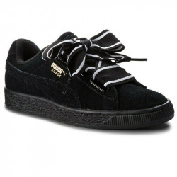 Puma Suede Heart Satin Black/Black 364084-01 черные