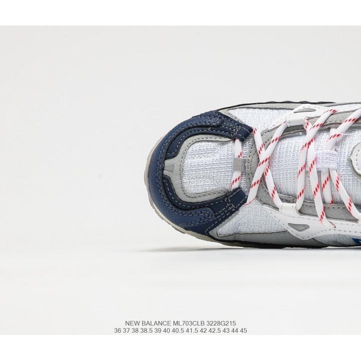 Кроссовки New Balance ML703 бежеві з синім логотипом