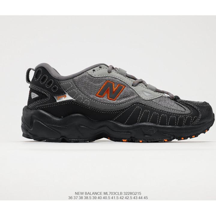 Кроссовки New Balance ML703 чорні з сірим та помаранчевим лого