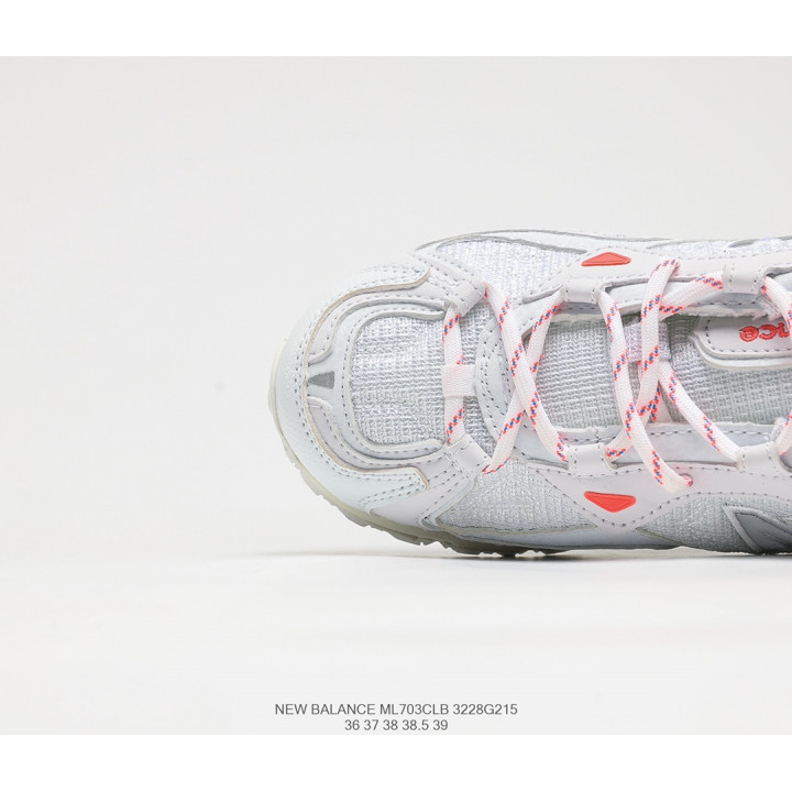 Кроссовки New Balance ML703 бежеві з білим з помаранчевим лого