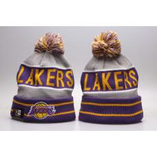 Шапка Lakers серая с фиолетовым с помпоном