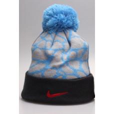 Шапка Nike серая с голубым с помпоном