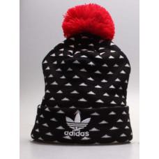 Шапка Adidas черная с красным с балабоном