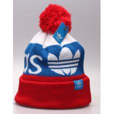 Шапка Adidas голубая с красным с балабоном