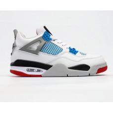 Кроссовки Air Jordan 4 Retro белые с синим