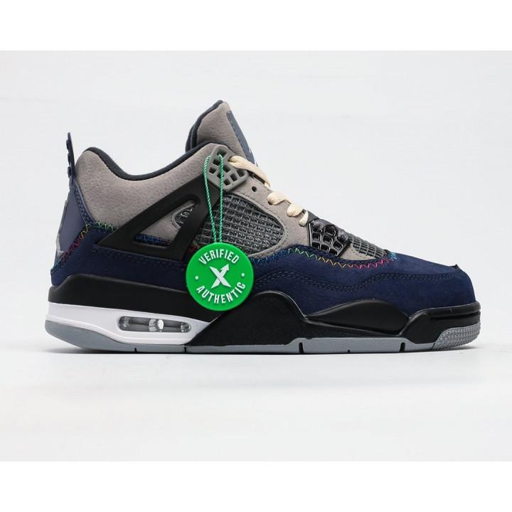 Кроссовки Air Jordan 4 Retro темно сині з сірим