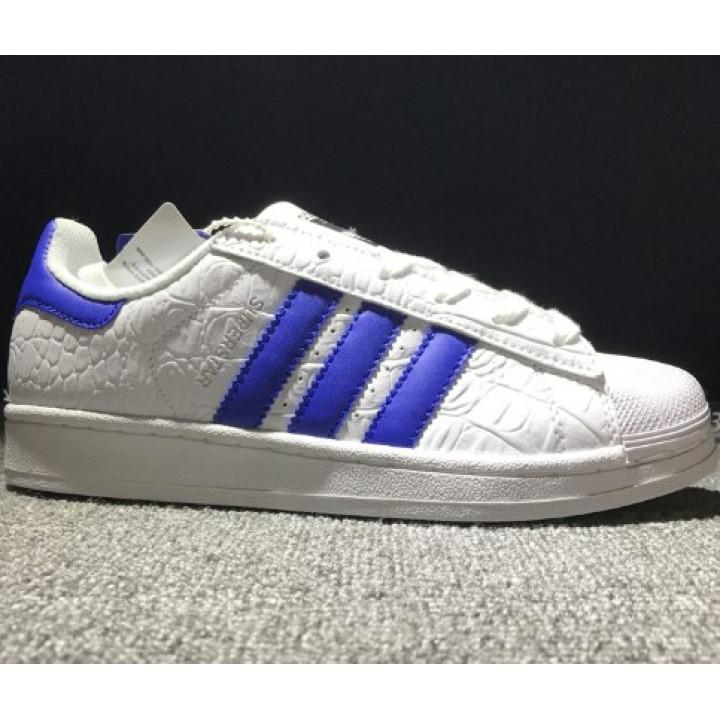 Кроссовки Adidas Superstar, белые с синим