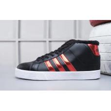 Кроссовки Adidas Neo Bbneo утепленные черные с красным