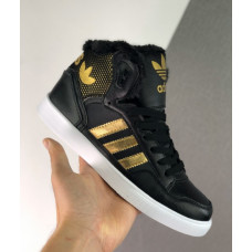 Зимние Adidas Extaball W черные с золотом