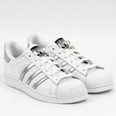 Adidas Superstar серебристые полоски