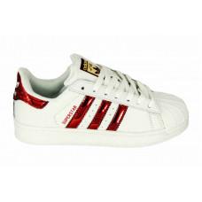 Adidas Superstar белый с красным в наличии