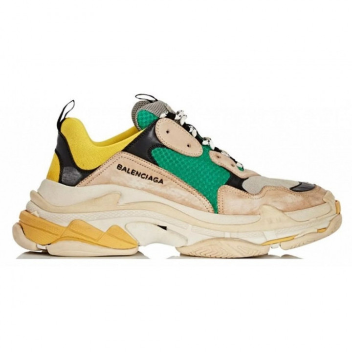 Модные кроссовки Balenciaga Triple с желтым