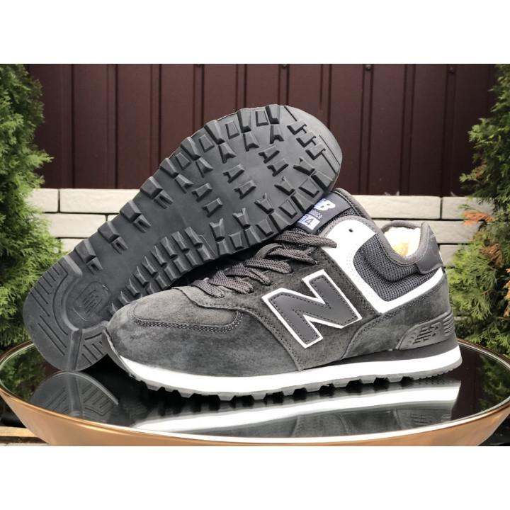 Кроссовки зимние, New Balance, 574 серые с белой полоской мужские