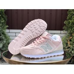Кроссовки New Balance 574 утепленные розовый с серым