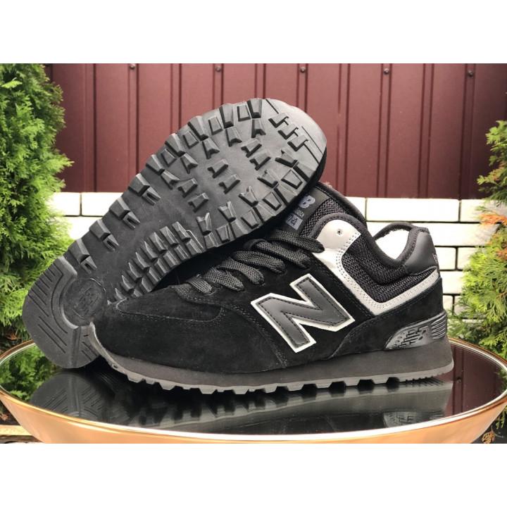Кроссовки зимние, New Balance, 574 черные мужские
