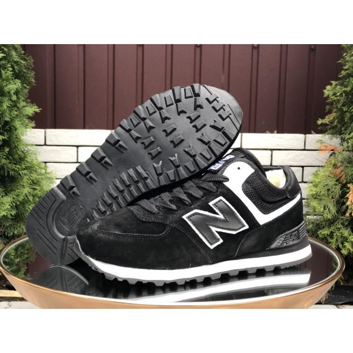 Кроссовки зимние, New Balance, 574 черные с белой полоской мужские