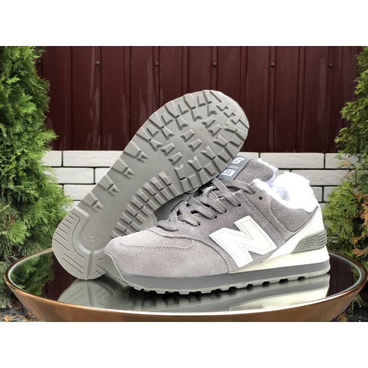 Кроссовки зимние, New Balance, 574 серые с белым лого