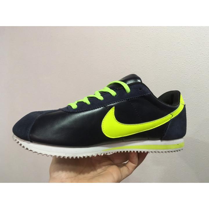 Nike Cortez, синие с салатовым