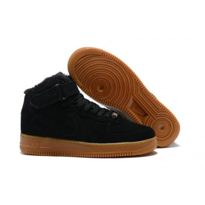 Кроссовки мужские  Nike Air Force утепленные, черные