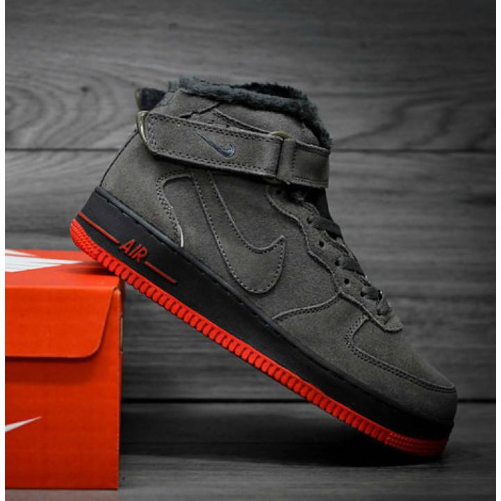 Кроссовки мужские  Nike Air Force утепленные, серые