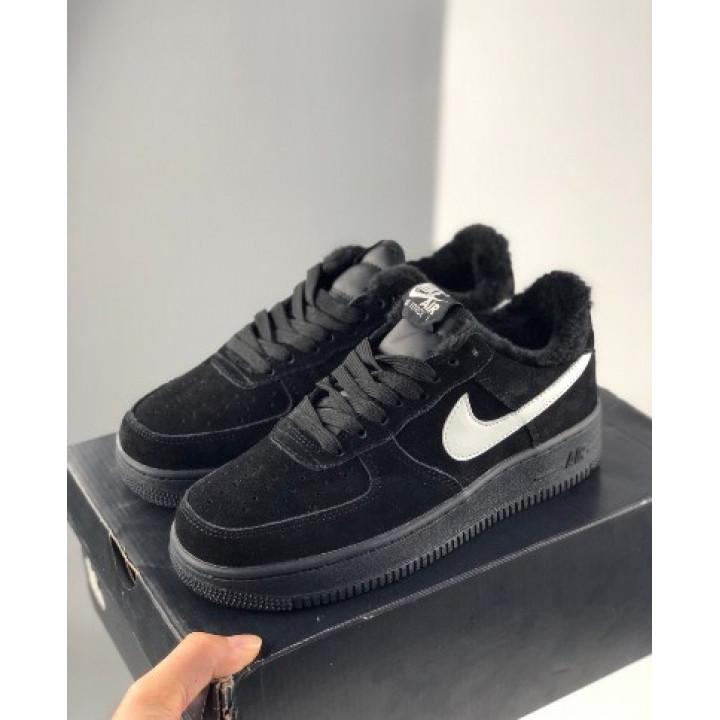 Кроссовки мужские  Nike Air Force утепленные, черные низкие