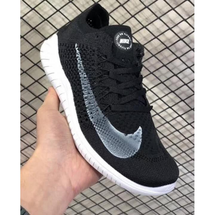 Nike Free Run, flyknit черные с серые кроссовки