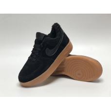Nike Air Force 1 утепленные все черные с рыжим низкие