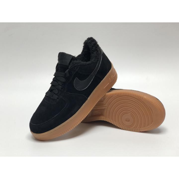 Кроссовки мужские  Nike Air Force утепленные, чисто черные подошва рыжая низкие