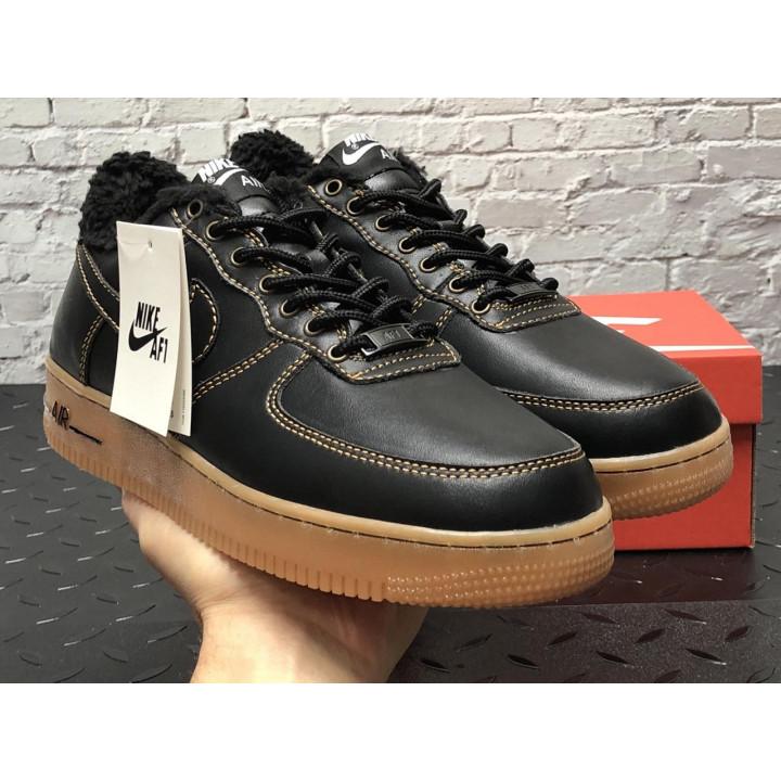 Кроссовки мужские  Nike Air Force утепленные черные с рыжим, кожа низкие