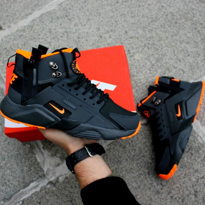 Кроссовки Nike Huarache Winter, Acronym черные с оранжевым