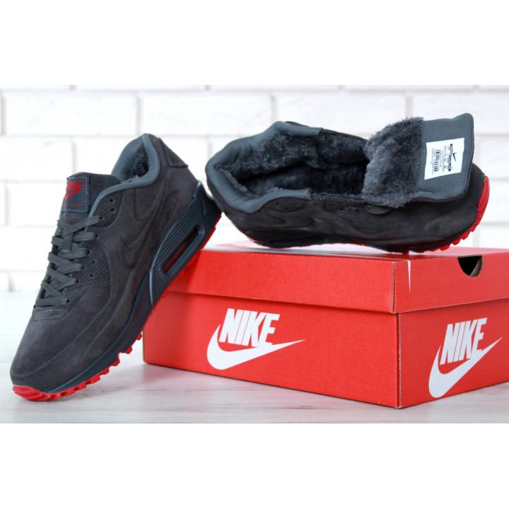 Кроссовки мужские Nike Air Max 90 VT с мехом утепленные, серые с красным замша