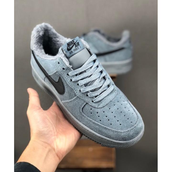 Кроссовки мужские  Nike Air Force утепленные, серые низкие