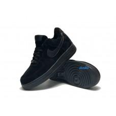 Nike Air Force 1 утепленные все черные низкие