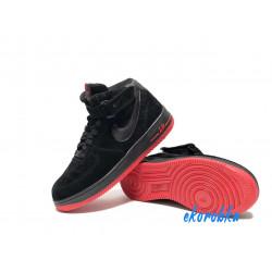 Nike Air Force 1 утепленные черные с красным Высокие