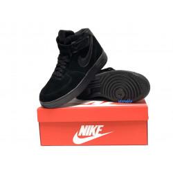 Nike Air Force 1 утепленные все черные Высокие