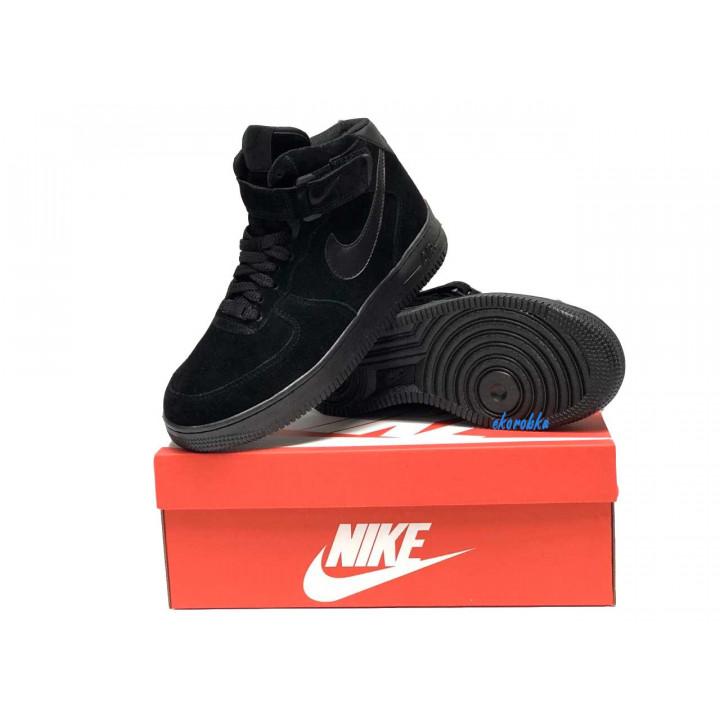 Кроссовки мужские  Nike Air Force утепленные, чисто черные высокие