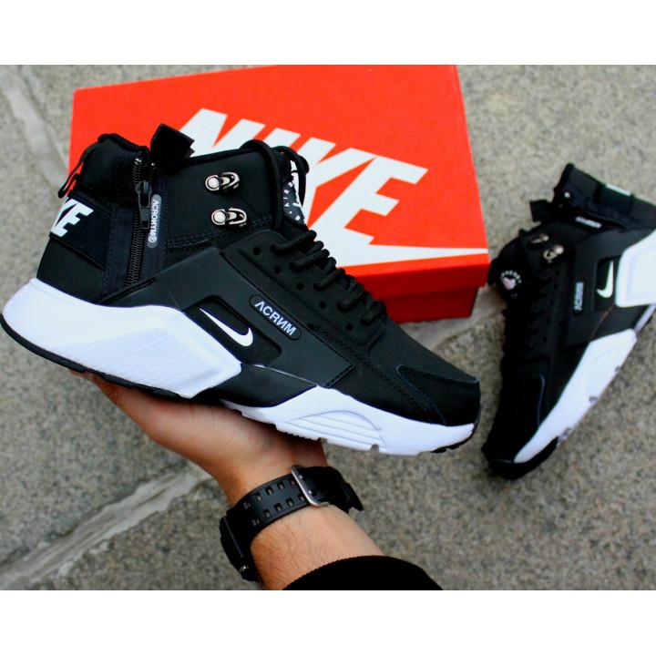 Кроссовки Nike Huarache Winter, Acronym черные с белым