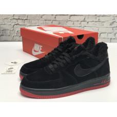 Nike Air Force 1 утепленные черные с красным низкие
