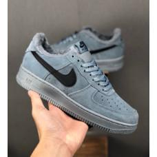 Nike Air Force 1 утепленные серые низкие