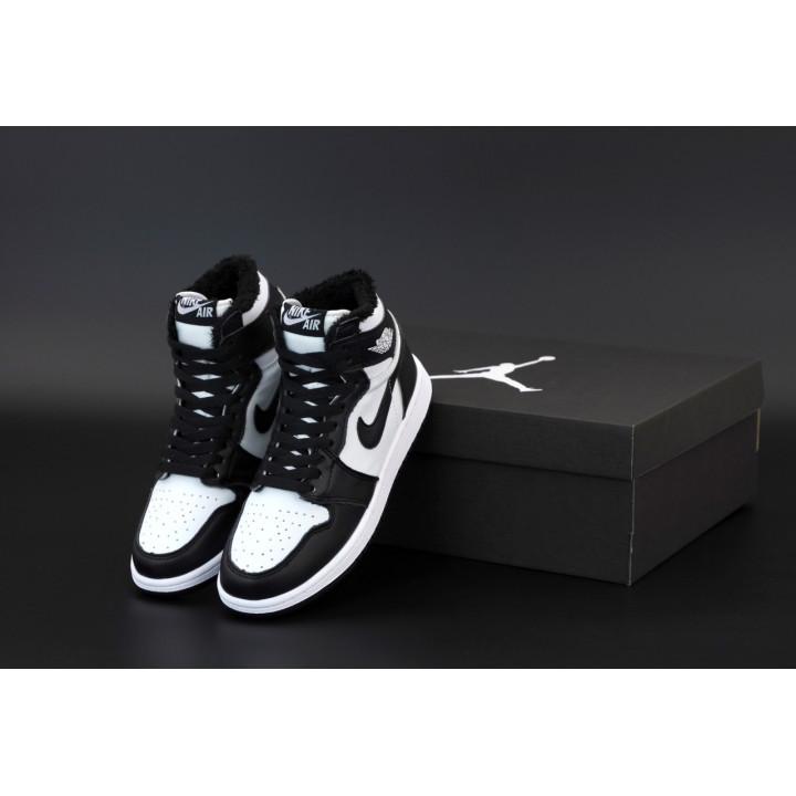 Кроссовки мужские Nike Air Jordan 1 Retro с мехом утепленные, черные с белым