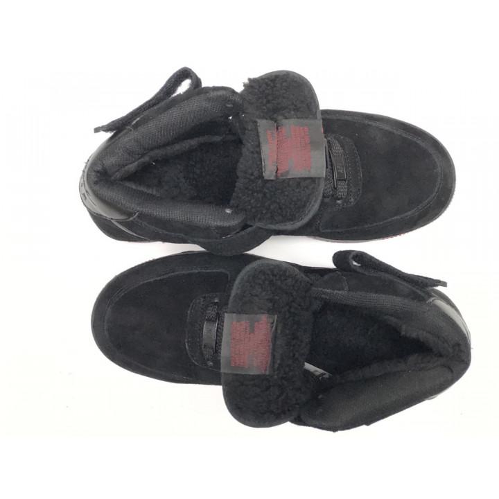 Кроссовки мужские  Nike Air Force утепленные, черные с красным высокие