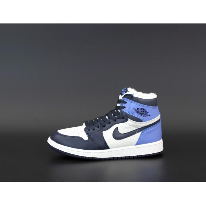 Кроссовки мужские Nike Air Jordan 1 Retro с мехом, утепленные синие с белым